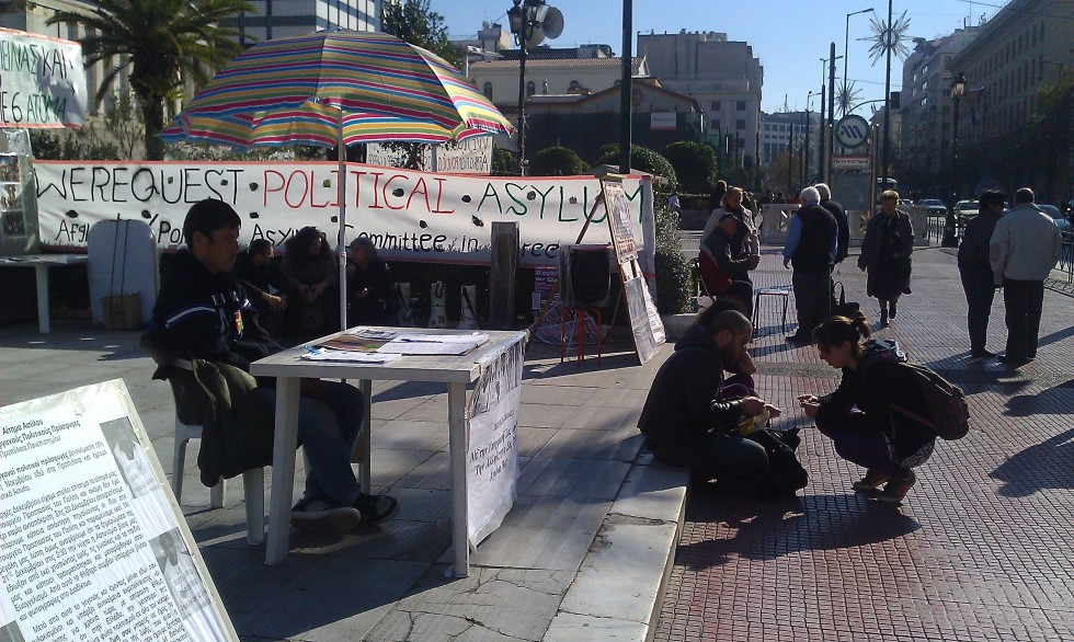 Afghan camp on main shopping district in Athens