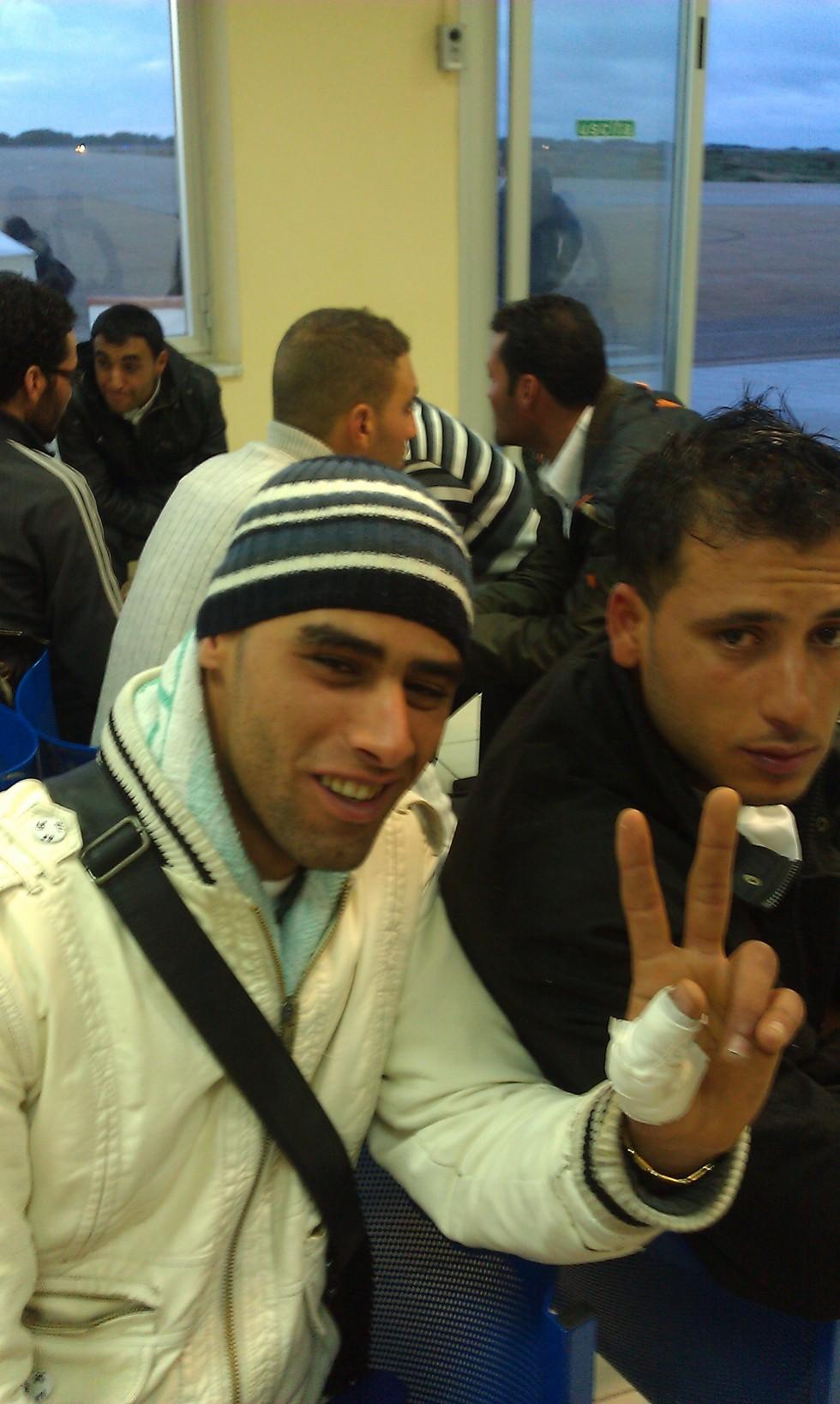 Tunsian man who just arrived on Italian island of Lampedusa.