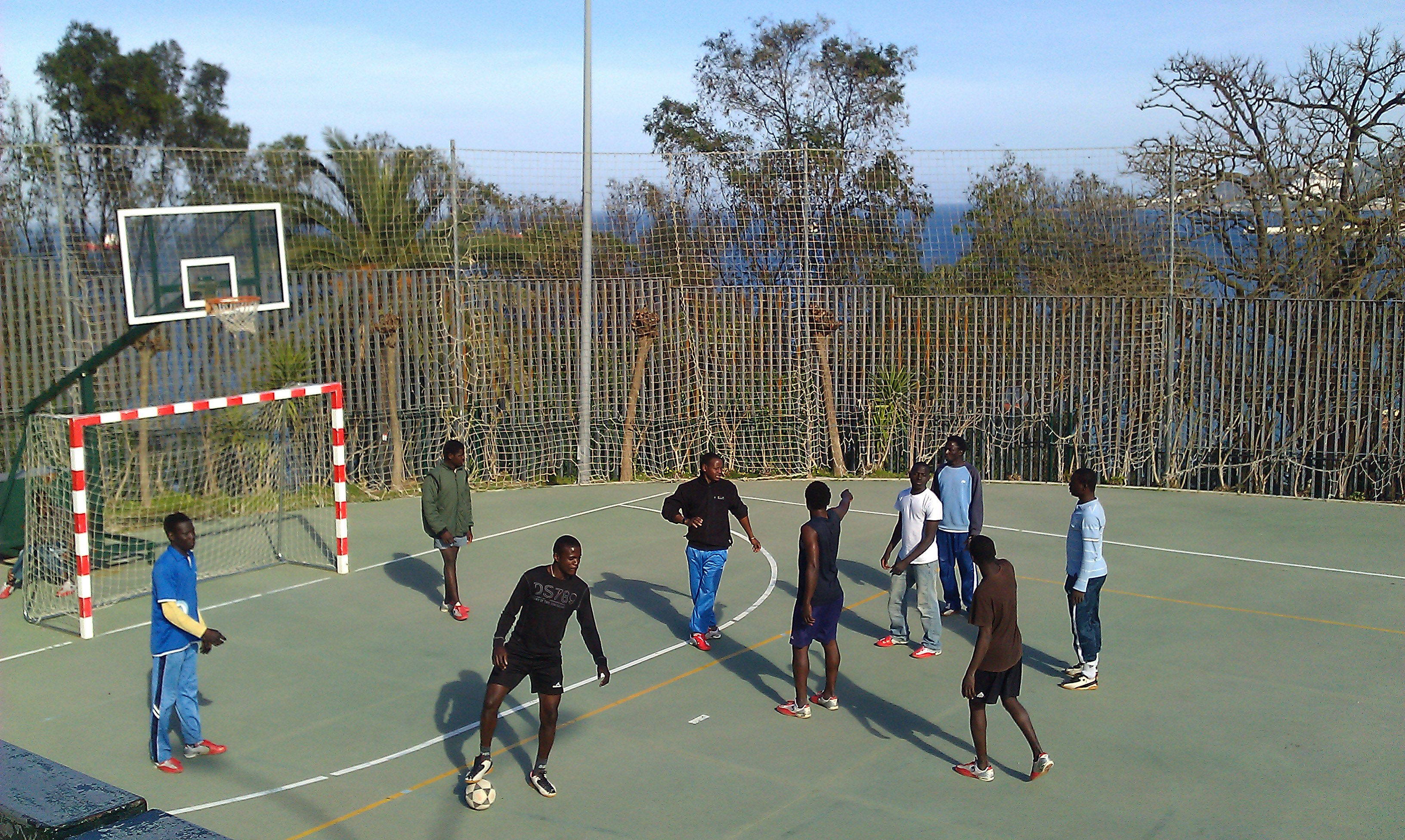 football game at CETI, immigration centre in Ceuta, Spain
