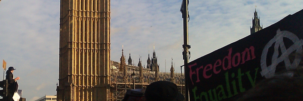 Brits protesting outside the Houses of Parliament against government plans to increase university tuition fees