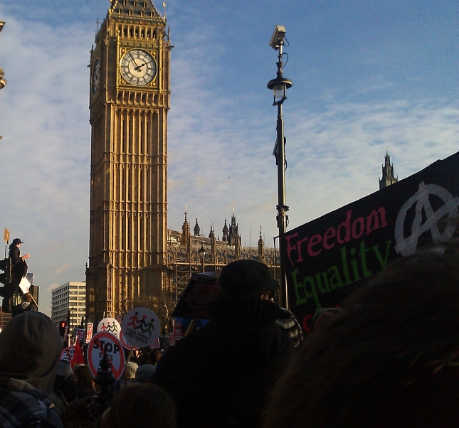 Brits protest outside the Houses of Parliament against government plan to raise university fees