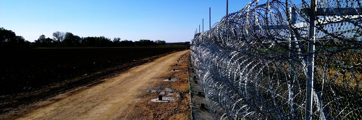 Border fence in Evros, Greece. Turkey is on the other side of the fence.
